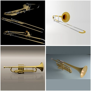 Trombone and Trumpet 3D Model