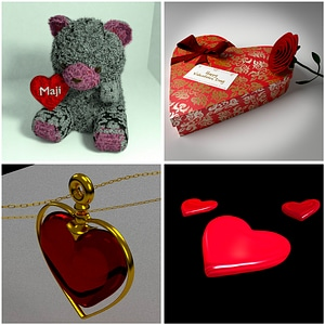 Valentines Day Pack with Hearts 3D Model