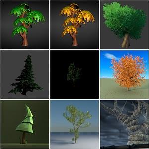 Various Trees 3D Model