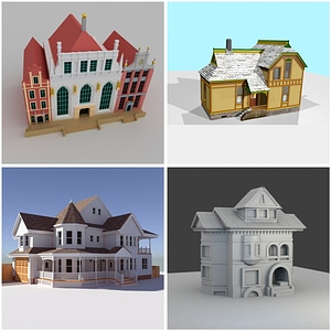Victorian Houses 3D Model