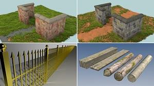 Walls and Fences 3D Model