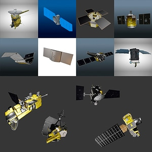 Set of Satellites and Space Telescopes 3D Model