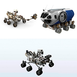 Curiosity and other Mars exploration vehicles 3D Model