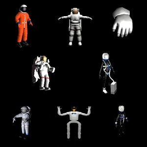 Set of Astronauts 3D Model