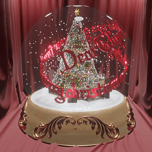 A snow globe with moving text and rotating snow 3D Model
