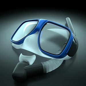 Scuba snorkel mask rigged 3D Model