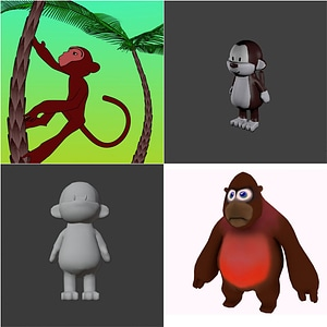 Set of Cartoon Monkeys 3D Model