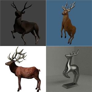 Set of Deers 3D Model