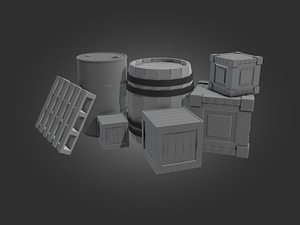 Barrels, Boxes and a Pallet 3D Model