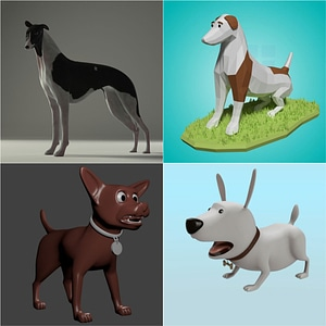 Set of Dogs 3D Model
