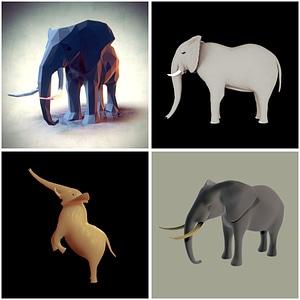 象のセット3Dモデル