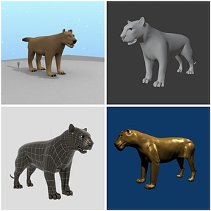 Lioness and Tiger 3D Model