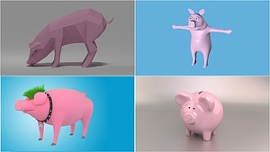 Set of Pigs 3D Model