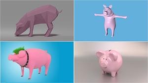 Sarja sikoja 3D-malli