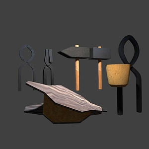 Blacksmith' Tools Collection 3D Model
