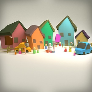Cartoon Village3D模型
