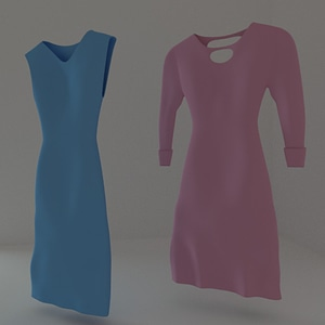 Women's Dresses on Hangers 3D Model