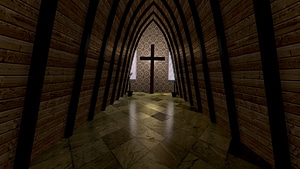 Church Scene with Cross 3D Model