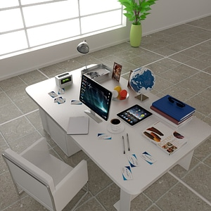 Domestic Office Table 3D Model