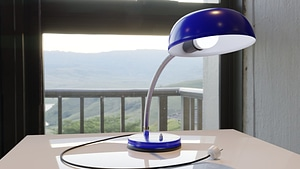 Flexible Blue Desk Lamp 3D Model