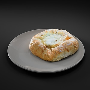 Bun with Cottage Cheese 3D Model