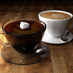 Coffee Scene with Two Types of Coffee 3D Model