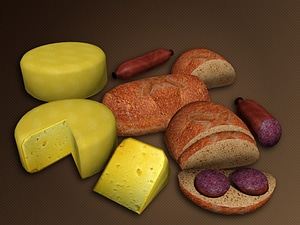 Cheese, Bread and Sausage 3D Model