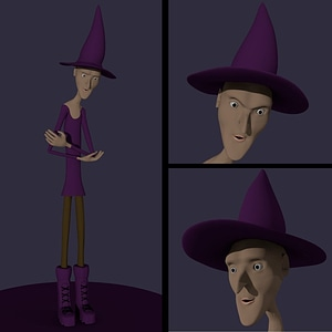 Cartoon Witch Character 3D Model