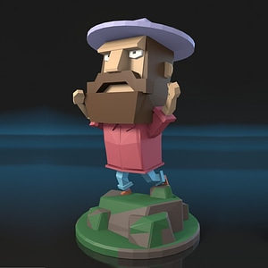 Low Poly Man 3D Model