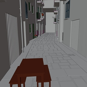 Little Street in a Town 3D Model