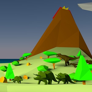 Low Poly Dinosaurs 3D Model