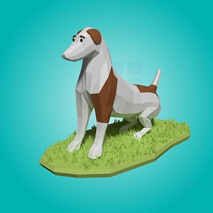 Dog Low Poly (Rigged) 3D Model