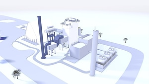 Low Poly Factory 3D Model