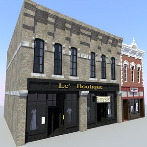 Old Town Store Front Buildings 3D Model