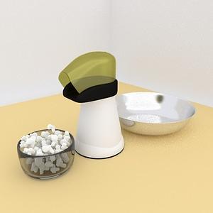 Popcorn Popper with Popcorn 3D Model