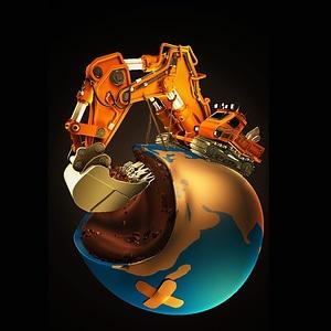 Rigged Excavator 3D Model