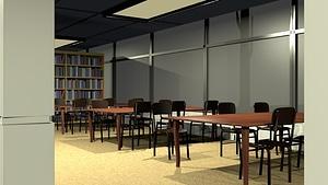 Library Scene 3D Model