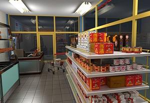 Mini Market Scene 3D Model