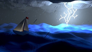 Low Poly Sailboat in Storm Scene 3D Model