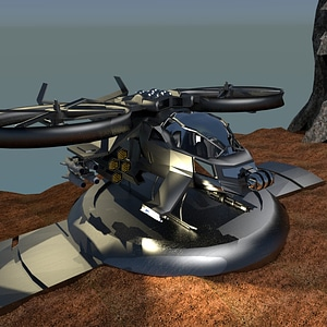 Sci-Fi Helicopter Gunship 3D Model