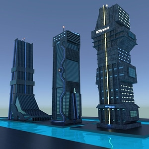 Sci-Fi Skyscrapers 3D Model