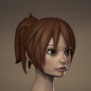 Sculpted Anime Girl Head 3D Model