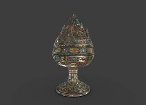 Lidded incense burner (xianglu) 3D Model