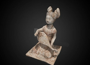 Lute player tomb figure 3D Model