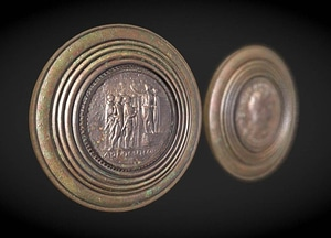 Mirror formed from two coins of Nero 3D Model