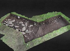 Trench B of a graveyard on Koltur island 3D-model