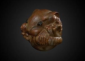 Curled rat netsuke for test scan 3D-malli