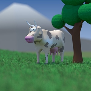 Cartoon Cow 3D модель