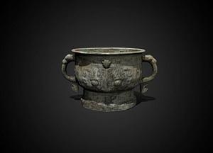 Bronze gui food vessel 3D Model