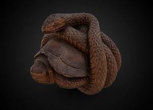 Snake curled around a turtle netsuke 3D Model